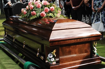 image of casket at a funeral